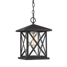 Large Hanging Front Porch Lights Jazava Exterior Hanging Lantern 1 Light Outdoor Pendant Lighting For Entrance Height Adjustable Matte Black Finish With Clear Glass Big