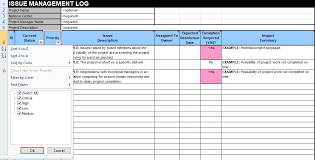 Project Excel Template Issue Tracking Template Excel Free Download