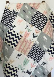 Hey, I found this really awesome Etsy listing at ://.etsy ... & Baby Quilt // Girl // Bow and Arrow // Fawn // Woodland // Birch Forest //  Deer // Navy Mint Pink Gray Crib Bedding // Baby Bedding Adamdwight.com