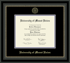university of mount union gold embossed diploma frame in noir  university of mount union gold embossed diploma frame in noir item 257108 from university store