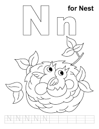 letter n coloring pages of alphabet words for kids with page
