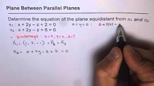 parallel planes equations. equation of equidistant plane between parallel planes equations