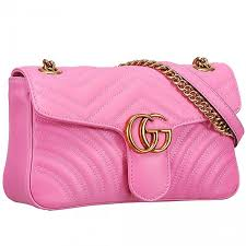 spring summer gucci gg marmont matelasse logo buckle brass strap pink leather shoulder bag replica 443496 drw3t 5554