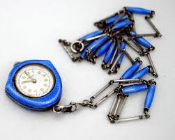 lot 46 vintage bucherer silver blue guilloche enamel pendant watch small chips with