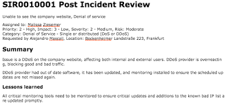 Post Incident Review Servicenow Docs