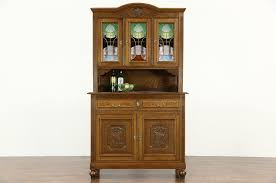 oak scandinavian 1910 antique sideboard china cabinet stained glass doors photo