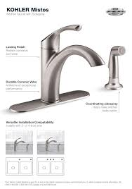 KOHLER Mistos Single Handle Standard Kitchen Faucet with Side