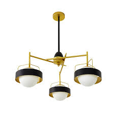 3 light modern contemporary ceiling lights copper plating chandelier with white black ball glass