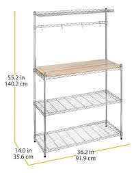 whitmor supreme kitchen bakers rack wood chrome review 4