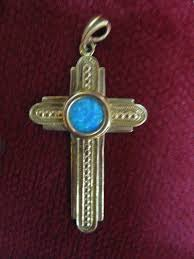 we have here a beautiful roman glass cross pendant for a necklace the piece of glass in this piece has a beautiful blue patina