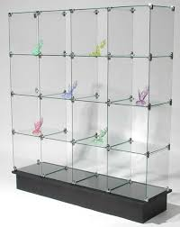glass cube display unit glass display stand glass shelves