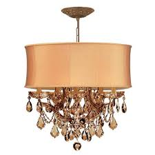 crystorama lighting group bwood antique brass six light golden teak crystal drum pendant