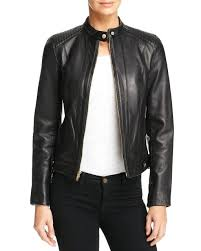 black motorcycle style lambskin leather jacket cole haan lamb zip front