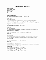 Teacher Assistant Resume With No Experience Inspirational Dietary