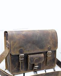 large leather satchel with front pocket by scaramanga hover to zoom