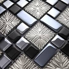 Small Picture metal coating mosaic tiles art design glass tile bedroom kitchen