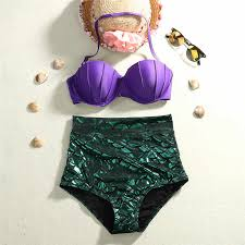 <b>2016</b> retro mermaid swimsuit underwire <b>push up</b> high waist bikini set ...