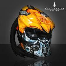 Predator Motorcycle Helmet Designs Transformers Bumble Bee Hand Paint Airbrush Predator Helmet