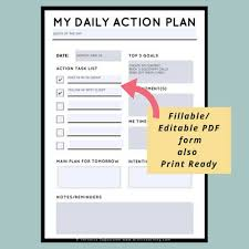 Action Plan In Pdf Cool Daily Action Plan Daily Plan Of Action Daily Planner Sheet Etsy