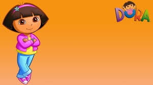 orange background wallpaper with dora the explorer