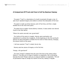 a comparison of trout and cow in calf by seamus heaney gcse document image preview