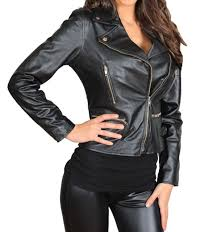 las cross zip slim fit biker style leather jacket casual wear black 8 18