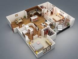 Open Concept 3 Bedroom House Floor Plan Design 3d
