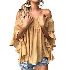 Ruffles <b>Off Shoulder Blouses</b> for Women Fashion Blue Casual ...