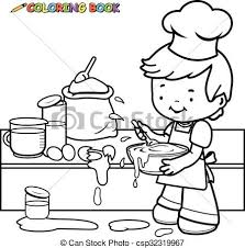 cooking clipart black and white. Perfect Clipart Boy Cooking Coloring Book Page  Csp32319967 Throughout Cooking Clipart Black And White