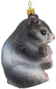 Christbaumschmuck Weihnachtsbaumschmuck Weihnachtsdeko Hamster Grau Glas