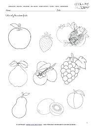Coloring Fruits Worksheets Worksheet Pages For Kindergarten ...