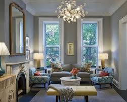 Living Room With Bench Living Room White Chandeliers Gray Benches Gray Sofa White