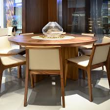 round dining table with lazy susan. Midollo-round-walnut-dining-table-lazy-susan Round Dining Table With Lazy Susan W