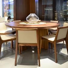 midollo round walnut dining table lazy susan