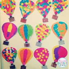 Such a cute art project for Spring! Hot air balloon mosaic masterpiece!  Great for