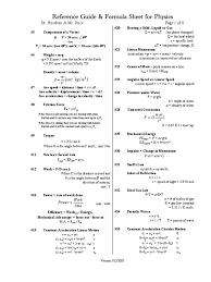 mcat physics reference formulas