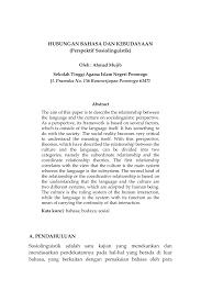 S2 thesis, universitas pendidikan indonesia. Pdf Hubungan Bahasa Dan Kebudayaan Perspektif Sosiolinguistik Hubungan Bahasa Dan Kebudayaan Perspektif Sosiolinguistik
