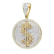 genuine diamond real 10k gold dollar sign pendant for men 1 65ct medallion yellow image