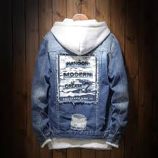<b>Men</b> Denim <b>Jacket Fashion</b> Design Casual Loose Ripped Holes ...