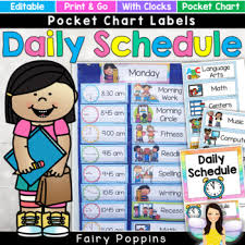 Editable Daily Schedule Pocket Chart Visual Timetable