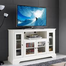 white wood entertainment center 52 highboy style wood tv stand white tv stands w52c32wh 4 the