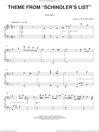 Williams - Theme from Schindler's List sheet music for piano four hands