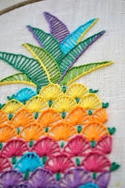 Pineapple hand embroidery patterns, modern hand embroidery patterns,  Colorful hawaii decor, Fruit, pineapple design by NaiveNeedle