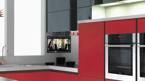 under cabinet mount tv for kitchen beautiful eidola under cabinet flip down smart kitchen tv