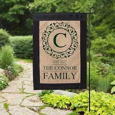 personalized monogram burlap garden