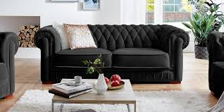 Designer Chesterfield Sofa Stoff Samt Schwarz Barock 3