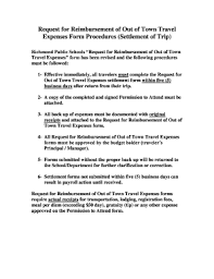 Expences Forms Fillable Online Brequestb For Reimbursement Of Out Of Town Travel