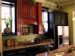 green kitchen walls with cherry cabinets