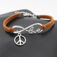 10pcs lot fashion peace symbol jewelry friendship bracelets gifts for women men infinity love peace sign charms leather bracelet in charm bracelets from