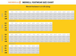 Merrell Clothing Size Chart Merrell Footwear Size Chart Best Picture Of Chart Anyimage Org